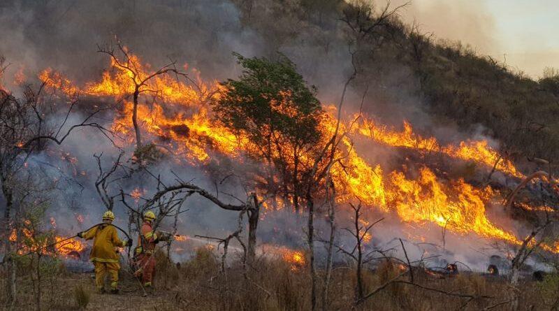 Combaten tres focos de incendio en una jornada con fuertes vientos y sin lluvias